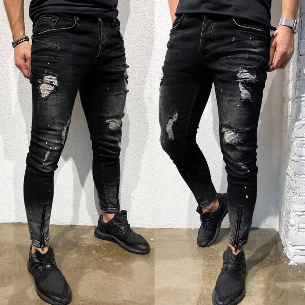 Fashion Jeans Pants Mens Skinny Stretch Denim Pants Distressed Ripped Freyed Slim Fit Jeans Trousers Jeans Men