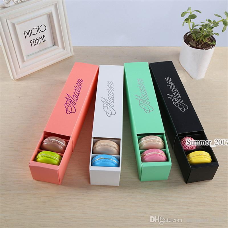 Macaron Box Cake Box Biscuit Muffin Box 20.3*5.3*5.3cm Black Blue Green White 4 Color