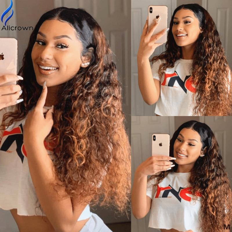 ALICROWN Curly Lace Front Human Hair Wigs with Baby Hair 13*6 Deep Part Lace Wigs Pre-Plucked Middle Ration Non-Remy