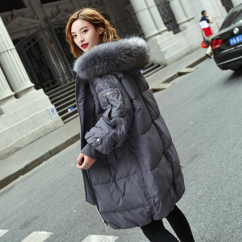 Down Jackets Woman 2018 New Pattern Long Korean Bat Sleeve Even Hat Easy Thickening Heavy Seta Lead Loose Coat Suit-dress Overcoat