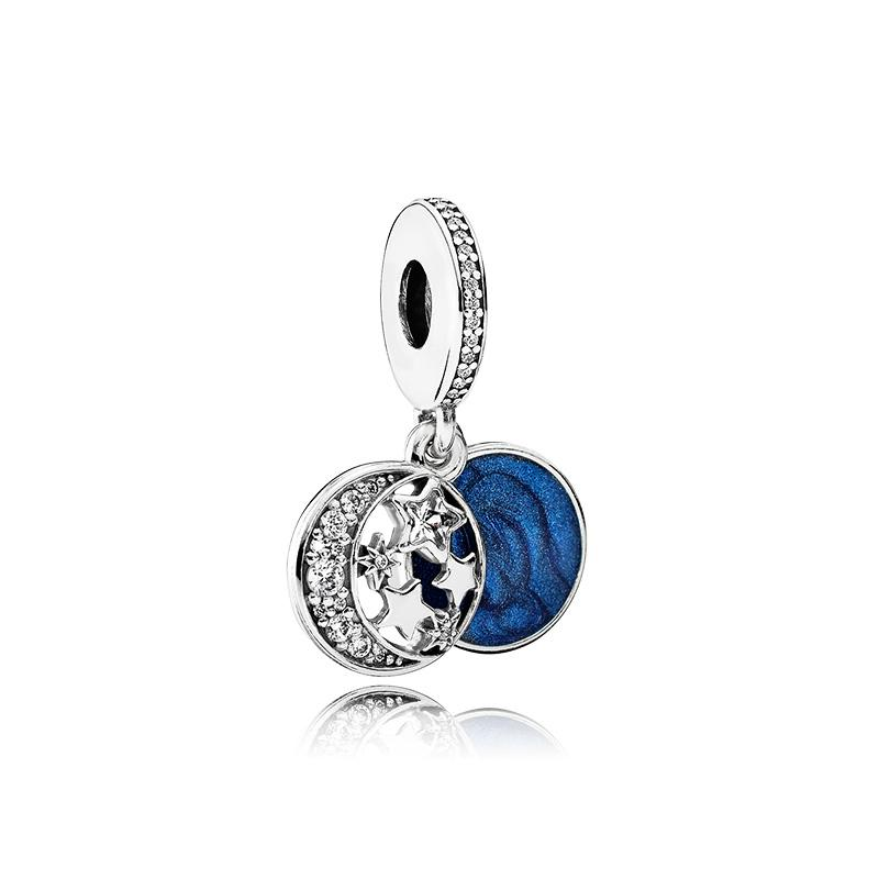925 Sterling Silver Blue enamel star and moon Pendant Charms Original box for Pandora European Bead Charms Bracelet Necklace jewelry making