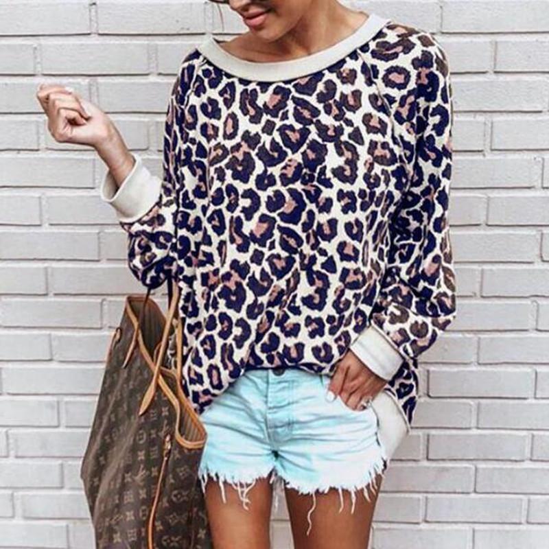 Leopardo de las mujeres camisetas impresas camiseta ocasional de las mujeres Moda de manga larga O-cuello Tops sueltos