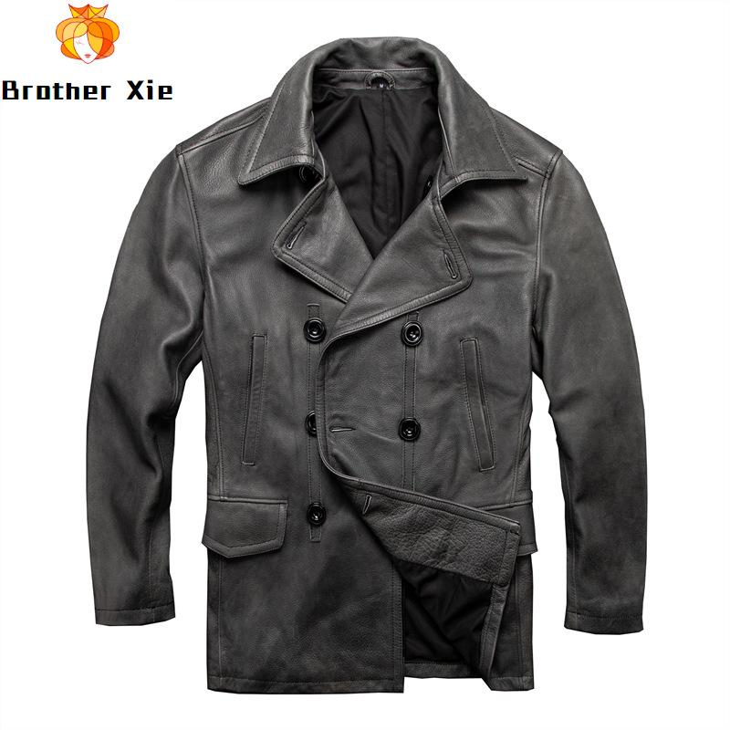 2020 Vintage Men's Genuine Leather Jackets Long Trench Coat Cowhide Jackets Double Breasted Casual Business Coat for Male