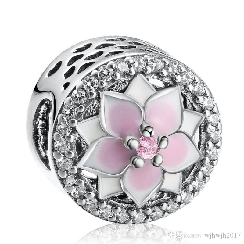 Magnolia Bloom Charms Beads Authentic 925 Sterling Silver Pave Crystal Enamel Flower Bead Fits Brand Logo Bracelets DIY Jewelry Making
