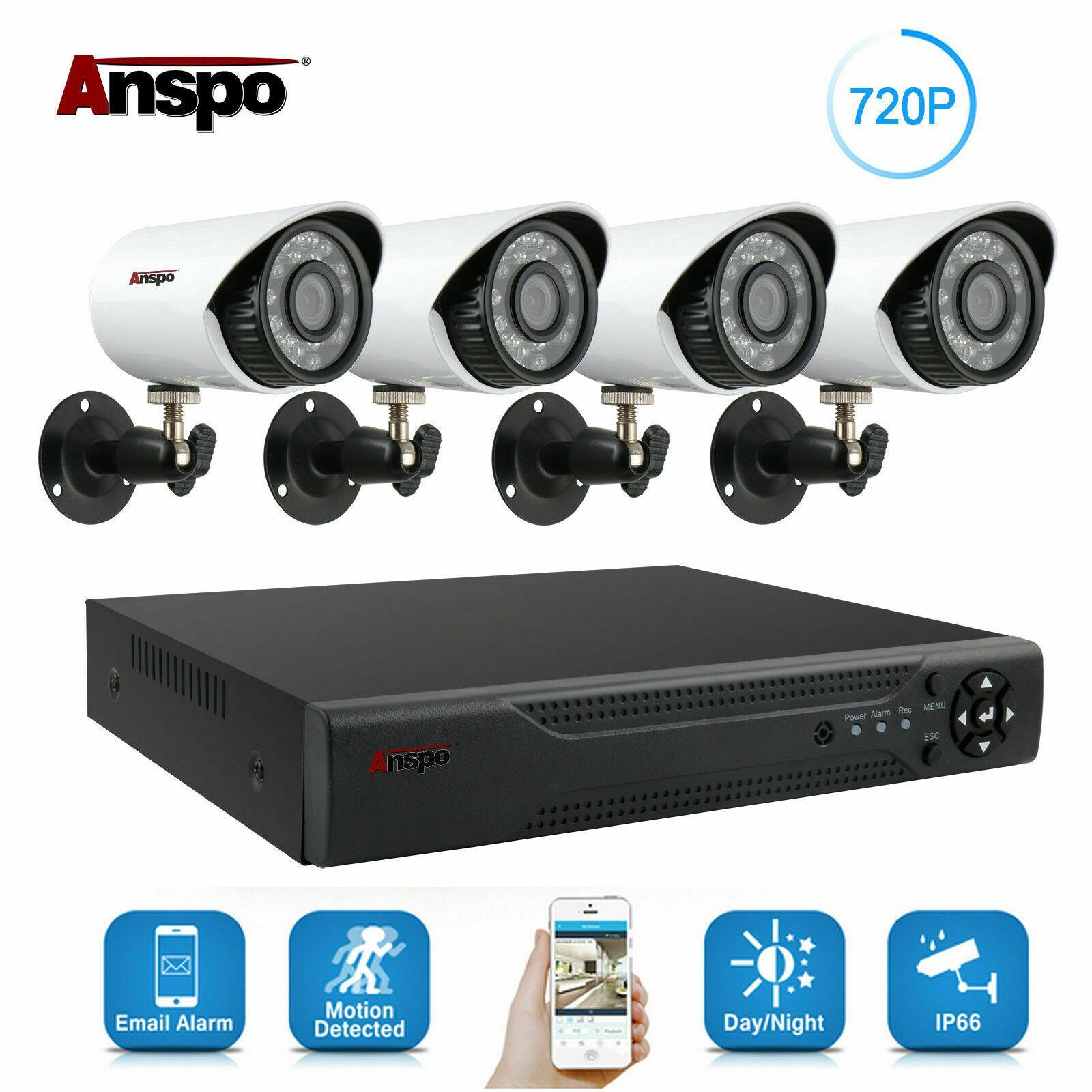 HDD와 Anspo 4CH AHD DVR 홈 보안 카메라 시스템 키트 방수 야외 나이트 비전 IR 컷 CCTV 홈 감시 720P 화이트 카메라