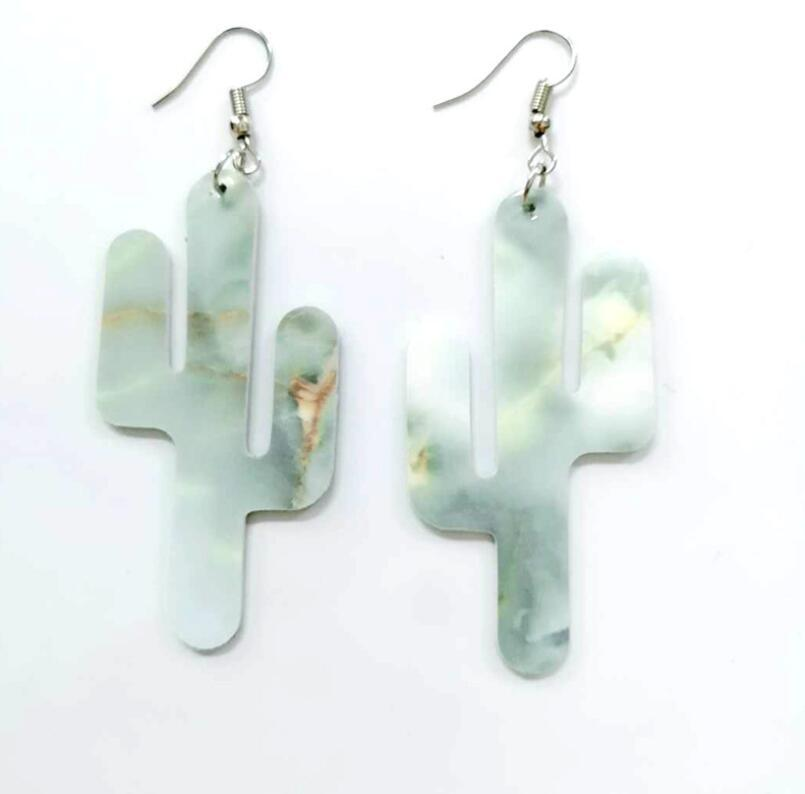 Fashionable and simple leather Earrings New Personalized pop cactus double faced composite Pu Earrings free shipping