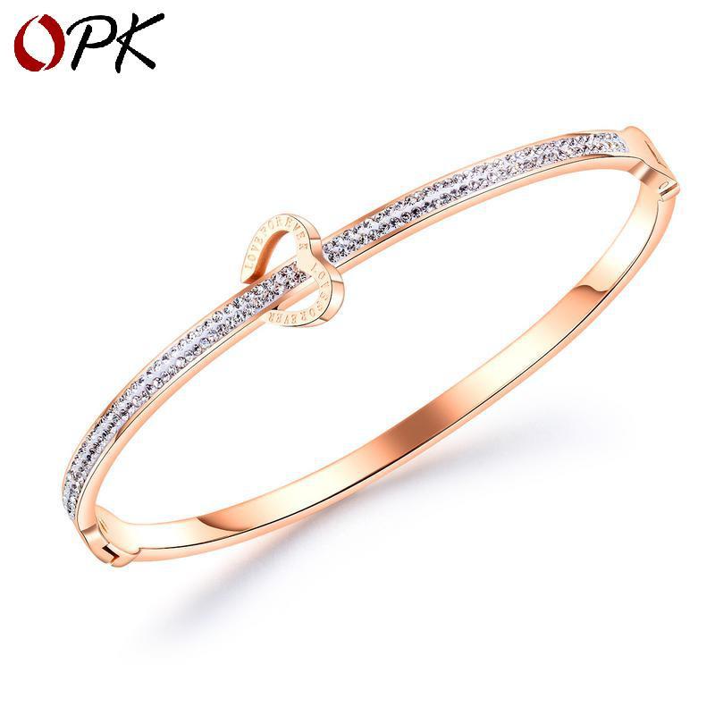 2019 nueva sencilla pulsera de diamantes para mujer de titanio amor del corazón de acero de todo tipo de pulsera de oro rosa para la novia