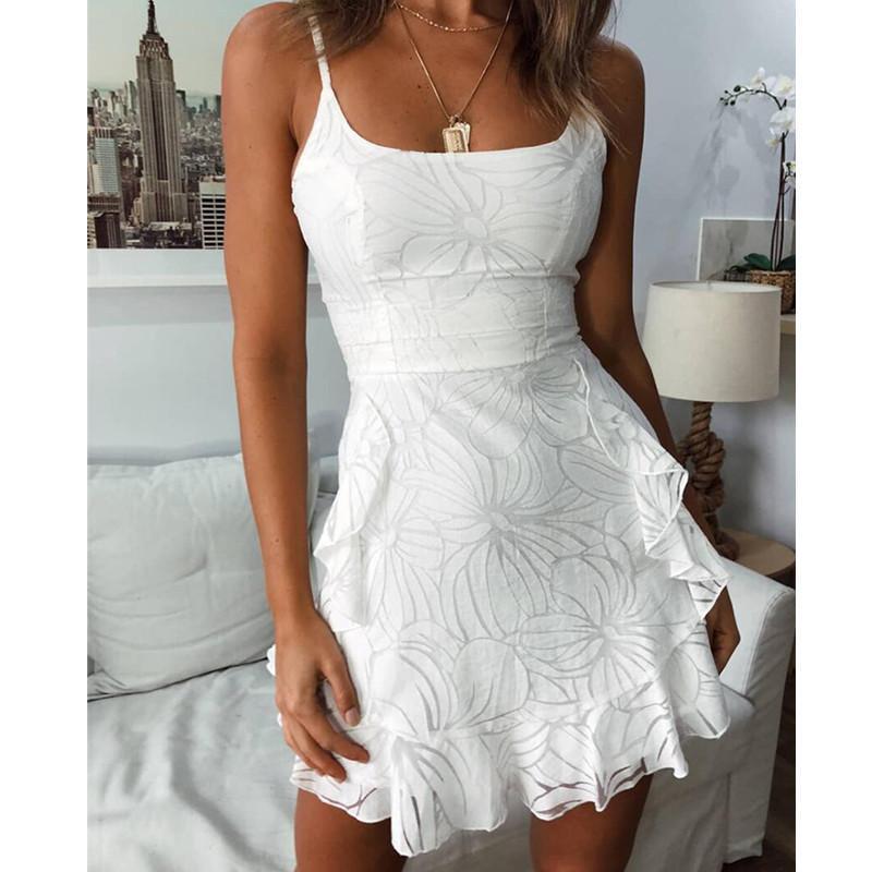 Nibesser Damen Weiß Mesh Kleid Elegant Vestidos Mujer 2019 Sommer Ärmellos Backless Spaghettibügel A Line Mini Ruffle Dress Y19051001