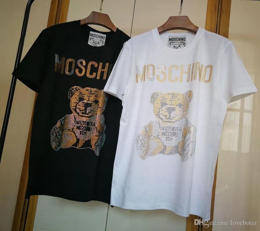 Yüksek Kalite Marka Set burgu Küçük ayı baskı Tshirt Moda Erkek Tasarımcı T Shirt Kadın Giyim Rahat Pamuk Marka Tee Üst