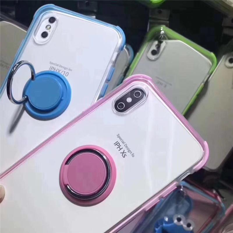 2 farbe transparent klar tpu für samsung s8 s9 s10 plus note8 j7 j2 j5 pro prime note9 stoßfest abdeckung case mit ring halter ständer magnetisch