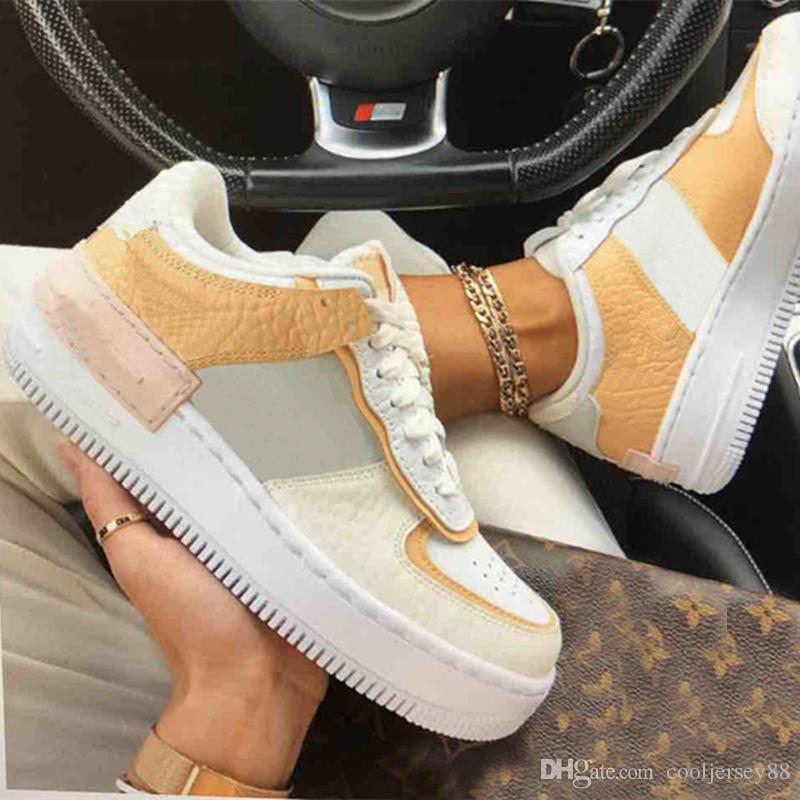 Nueva baja WMNS Diseñador Crema muchachas de las mujeres de los zapatos corrientes de caramelo Macaron 1 Sombra Tropical torcer Deportivo Monopatín las zapatillas de deporte Zapatos