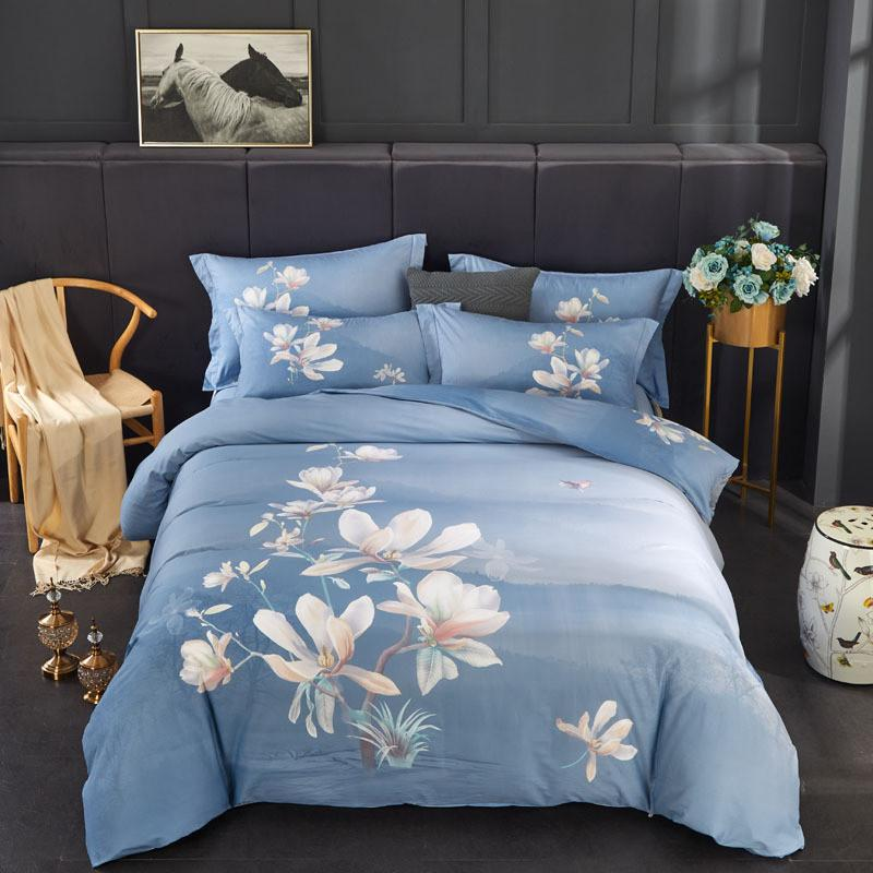 Elegant floral Chinese bedding set 100% flower prinnted cotton queen king size duvet cover bed sheet bedclothes home textile