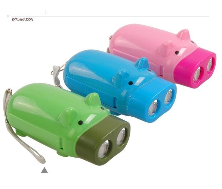 손 압력 충전식 미니 돼지 손전등 아이 장난감 조명 포켓 손전등 돼지 디자인 자체 충전 2 led 횃불 램프