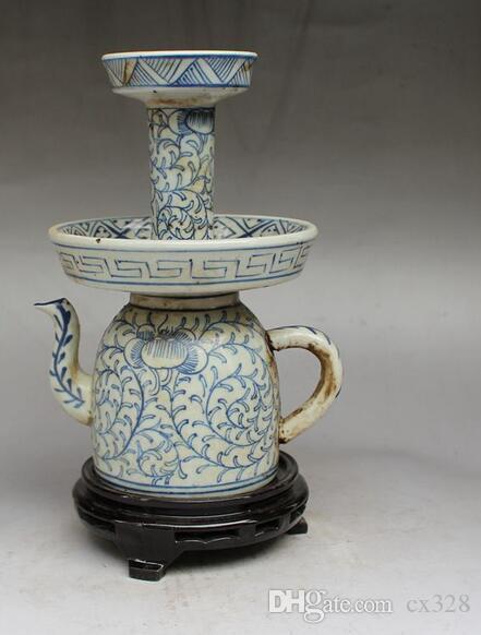 Imitation der späten Qing-Dynastie von Hand bemalt blau und weiß Kordel Doppel-Öllampe Jingdezhen Porzellan antike Sammlung Dekoration Crew Pro