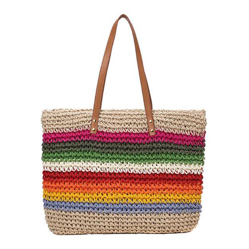 SenkeyStyle Senhoras sacos de mão Palha Tecelagem do arco-íris Grandes sacos de ombro para as Mulheres Praia Verão Viagem New Handbag