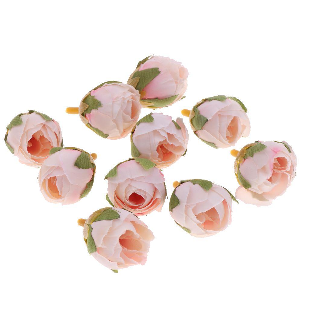 10pcs seda artificial Buds flor cabeça para o chuveiro nupcial Bouquet Wreath DIY Acessórios