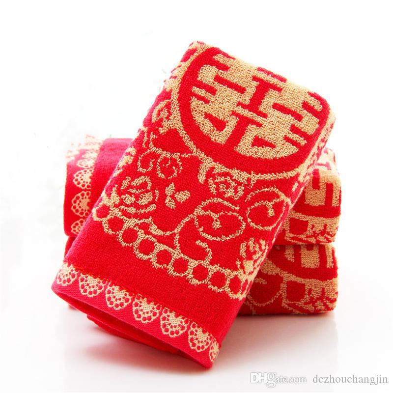 Factory wholesale Big red hi word wedding thickening towel Cartoon creative wedding gift towel red wash face towel