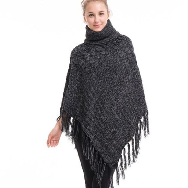 Autumn Winter Poncho Style Turtleneck Knitted Sweaters Female Oversized Pullover Women Knitwear Jumper Fashion Loose Cape Coat