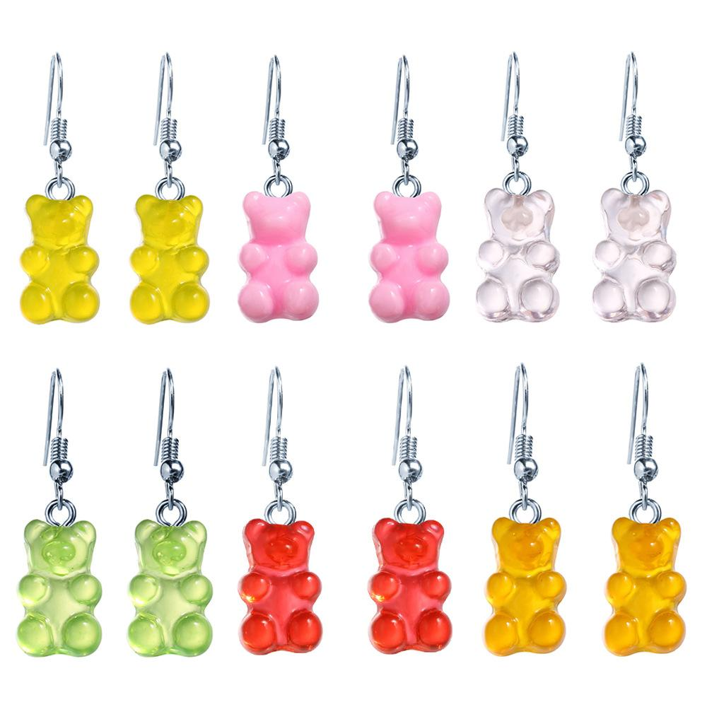 Panda прозрачный конфеты цвет медведь серьги серьги шарм заручиться лучший подарок для мамы или учителя новейший стиль 30 пар / лот