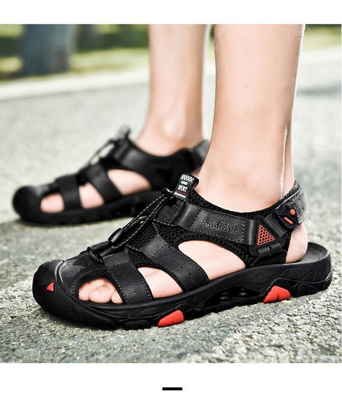 Yaz Birinci katman Deri Sandalet Erkek Deri Baotou Beach Ayakkabı Erkek Yumuşak Alt Kaymaz Açık Günlük Ayakkabılar