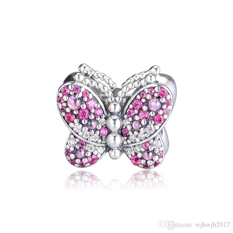 FITS femmes européennes Bracelets authentique argent 925 Dazzling en cristal rose Pave Papillon Charm Perles originale Diy Fabrication de bijoux