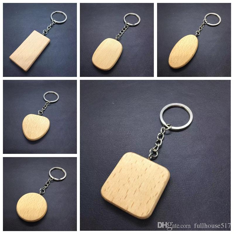 Personalisierte DIY Blank Holz-Schlüsselanhänger Rechteck Herz Runde Ellipse Schnitzen Schlüsselanhänger Holz Keychain Ring Geschenke Craft Werkzeuge