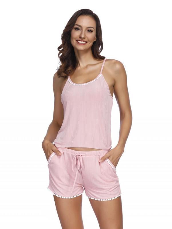 Sexy Estate Pajamas Sleepwear per maniche di spaghetti donne della cinghia estate Pigiama Cami top + shorts Pigiama Set biancheria da notte