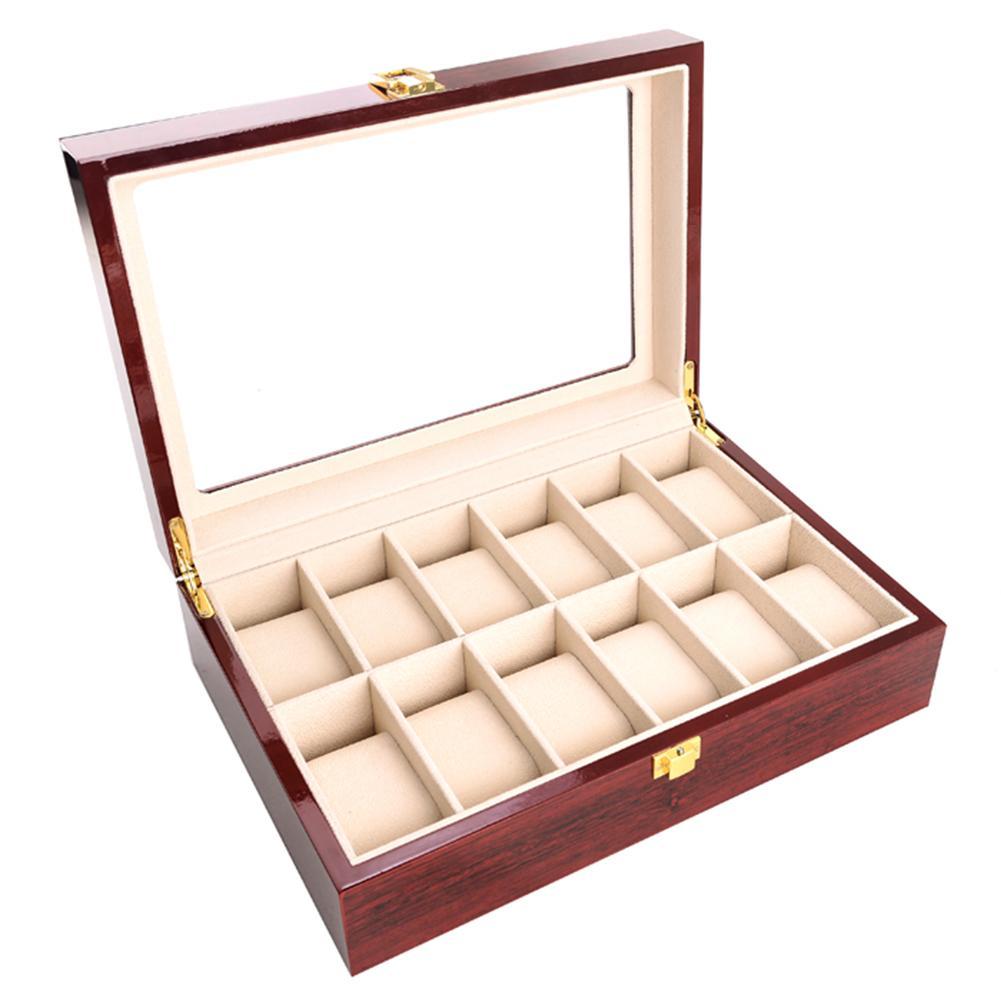 مربع خمر الرئيسية هدايا مجوهرات حالة التخزين المنظم عدادات الصلبة ووتش مربع خشبية زجاج عدم الانزلاق عرض موقف مع قفل