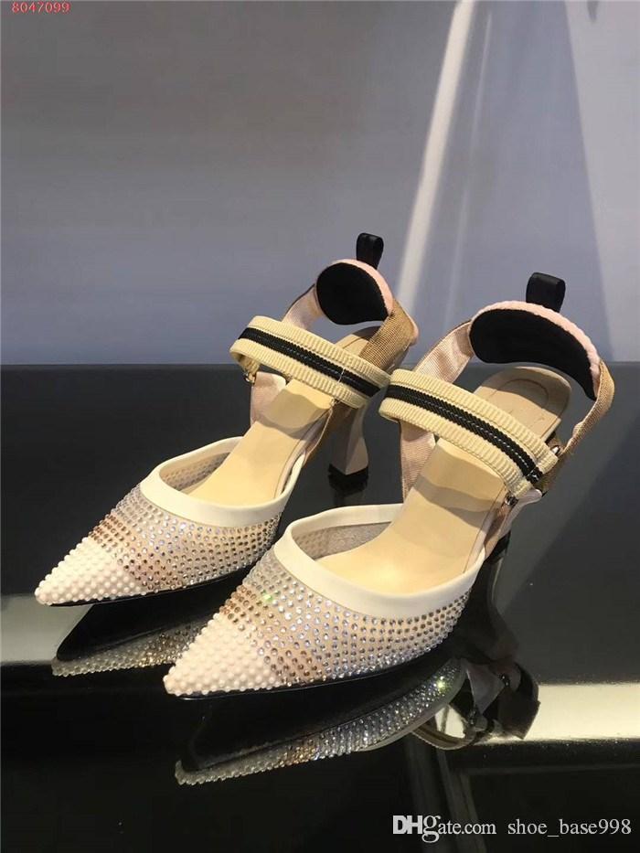 High Heels mit spitzen Zehen für Frauen, Transparente Maschengarn Wasser bohrt empfindlich atmungs Trend High Heel Sandalen, mit Kasten 36-42