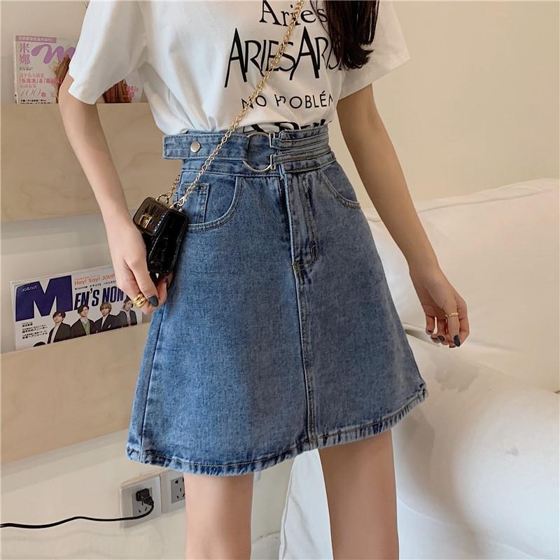 TV0DY Frauen des Sommers neue hohe Taille kurzen Rock vielseitig abnehmen 2020 Student Rock Denim skirtskirt Aline skirtDenim dünne Hüfte bedeckte
