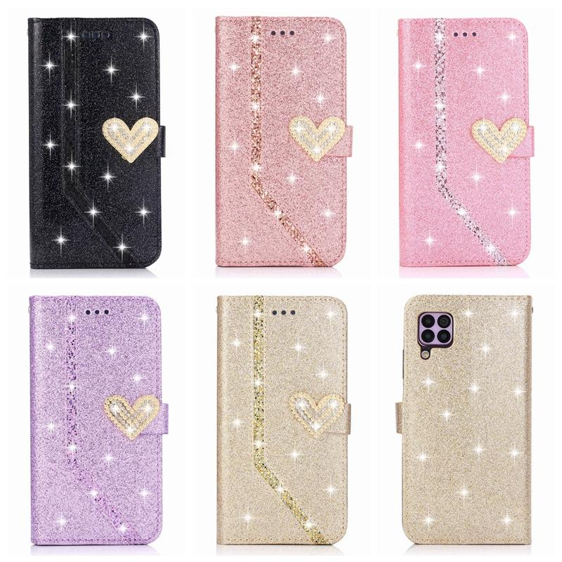 Leather Wallet Case For Galaxy S20 Ultra A51 A71 A11 A21 A41 A70E Huawei P40 Pro Lite Heart Sparkle Love Bling Glitter Sparkly Flip Covers