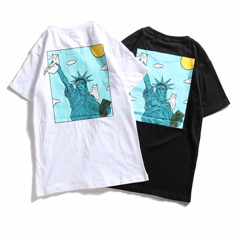 2020 Nuovo Ripndip magliette di modo di Hip Hop di alta qualità Gatto In Pocket Mens magliette di modo delle donne degli uomini manica corta S-XL
