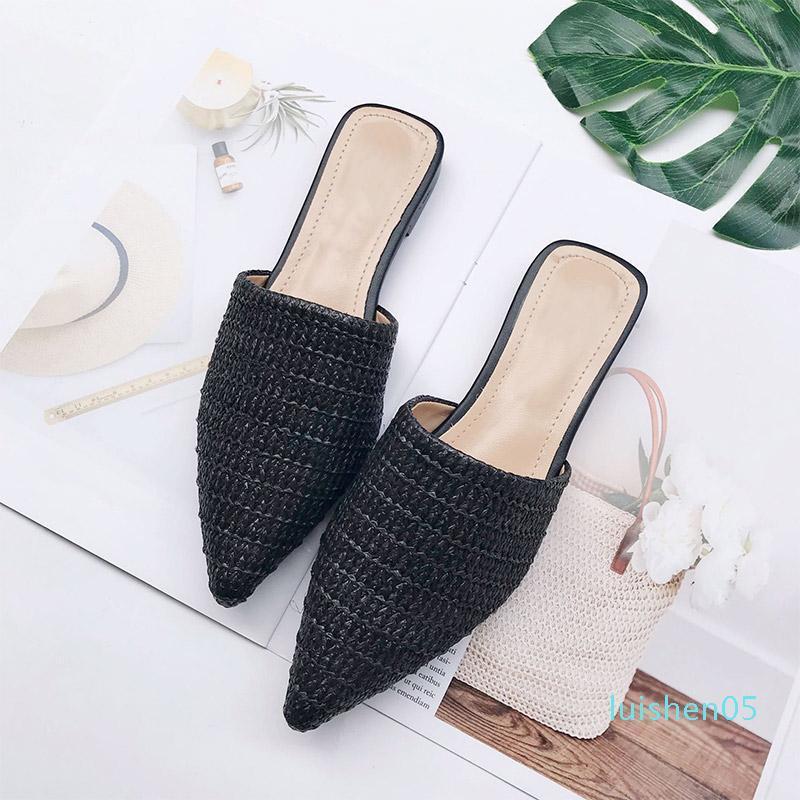 MCCKLE Frauen Spitzschuh Flache Sommerschuhe Pantoletten Damen Cane Beleg auf Flip Flops Mode Schuhe Weibliche beiläufige Art und Weise L05