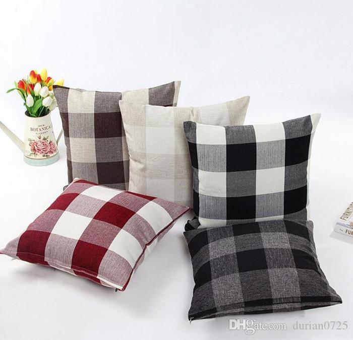 Classique grand treillis taie lin naturel taie d'oreiller décoratif Living coussin de bureau lit chambre couverture 45 * 45cm