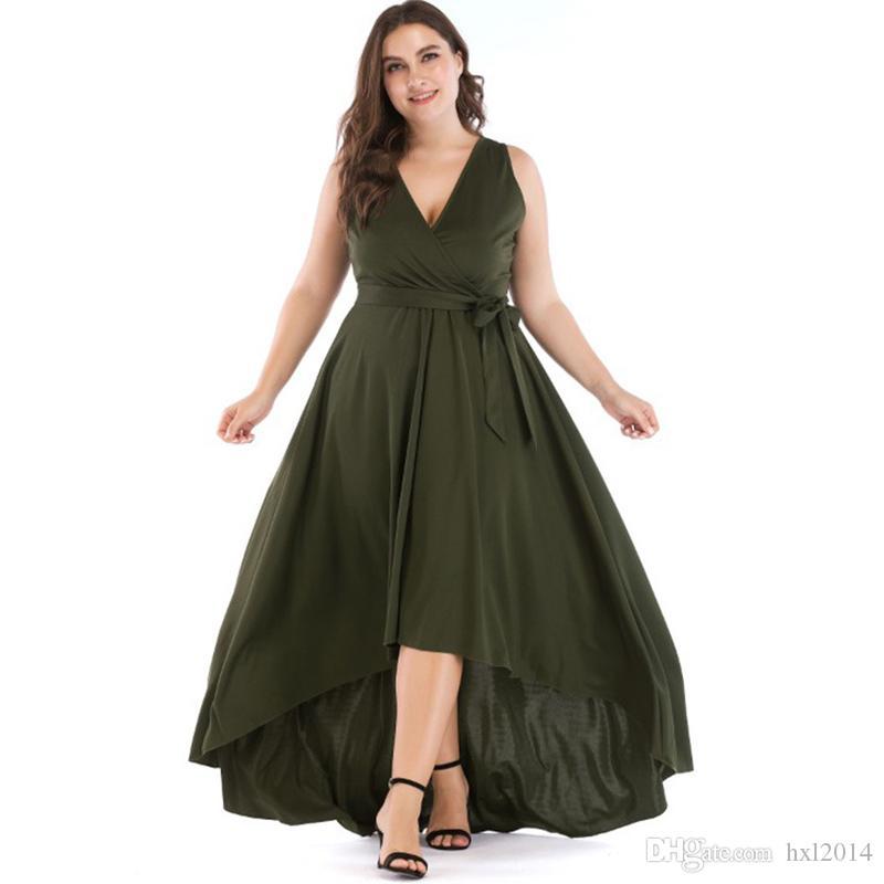 Kadın Giyim Günlük Elbiseler yaz Artı boyutu Katı Renk Derin V yaka Vintage fırfır Ofisi Yelek Uzun akşam Elbise atlamacı etek