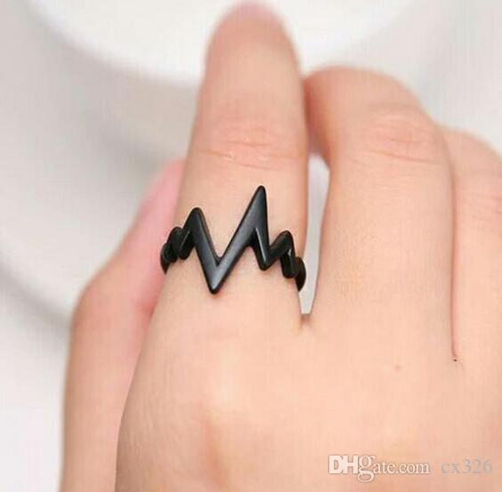 Ring Men Women Black Alloy fashion popular ECG Wave Ring Female Male Couples Rings Bijouterie