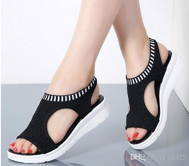 Sandalias para mujer 2019 Nuevos zapatos femeninos Cuña de verano para mujer Sandalias cómodas Sandalias planas sin cordones para mujer Sandalias para mujer