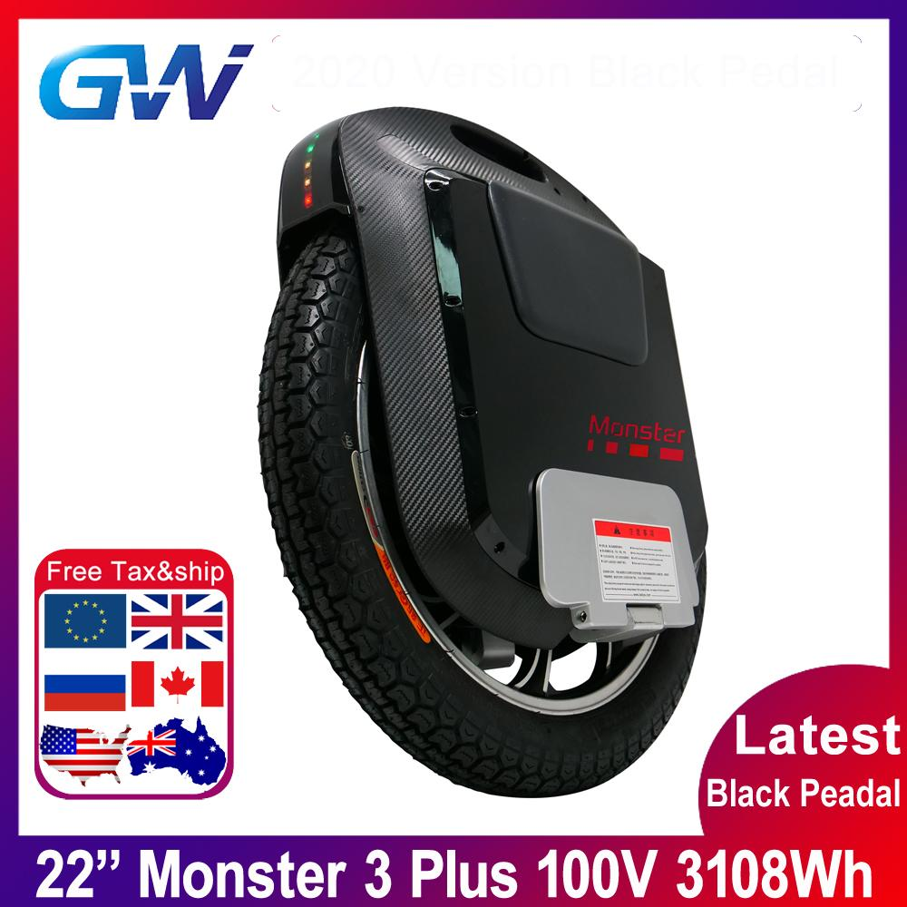 2020 Gotway 몬스터 3 플러스 22 인치 티탄 제 3 회 몬스터 전기 100V 3108WH 전체 블랙 블루투스 스피커 21700 배터리 외발 자전거