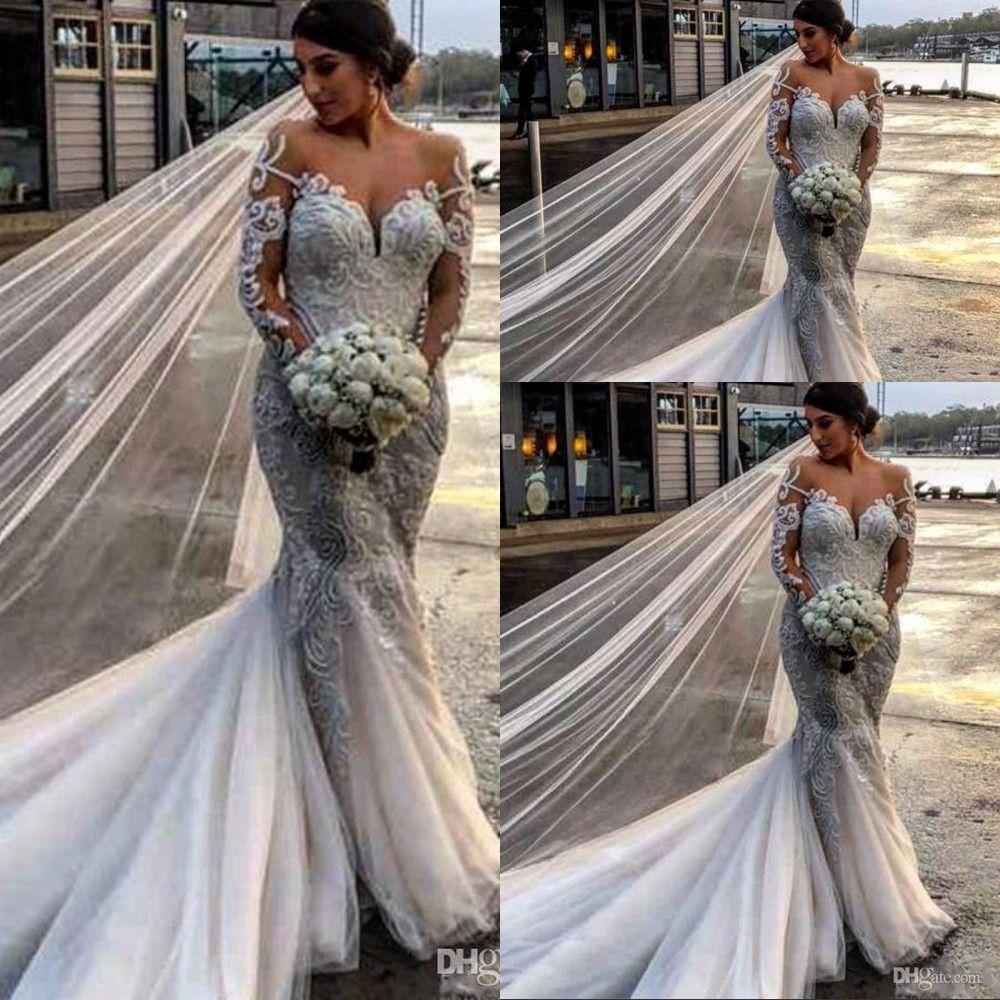 Barato vestidos de casamento de sereia sexy tulle cetim laço apliques de cristal pérolas pérolas vose vice-mangas compridas trens tribunais plus tamanho vestidos nupciais