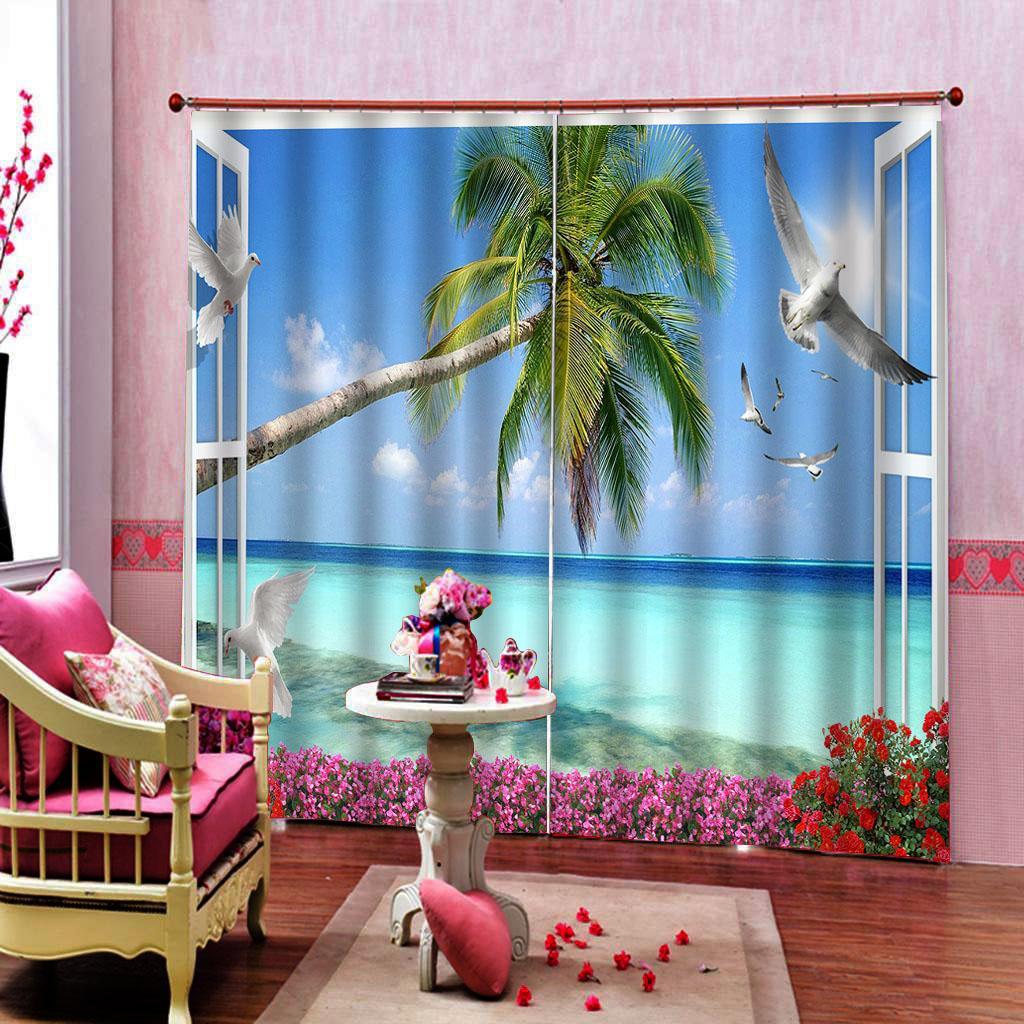 tende 3D Curtain moda personalizzati Coconut Tree Gabbiano oscuranti per vivere la casa camera da letto camera Tende Sets (lato sinistro e destro)