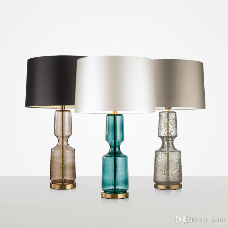 American Art Deco Glass Table Lamp Bedroom Living Room Office Fabric Lamp Shade Desk Lights Decor Bedside Table Lights Luminaria