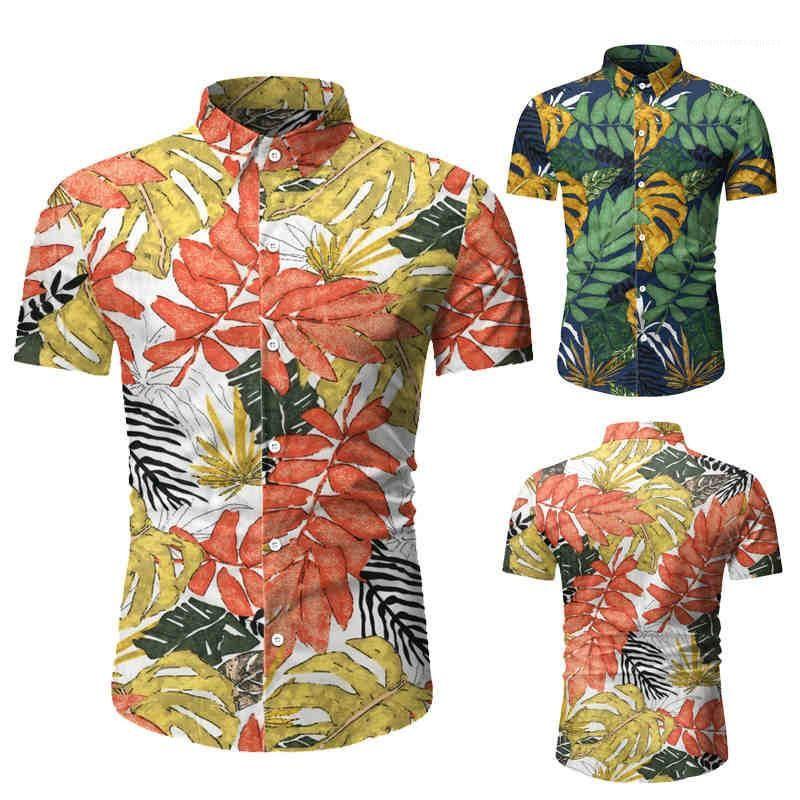 Baskılı Kısa Kollu Yaka Boyun Erkek Casual Gömlek Moda İnce Erkek Plaj Yaz Erkek Gömlek Tops