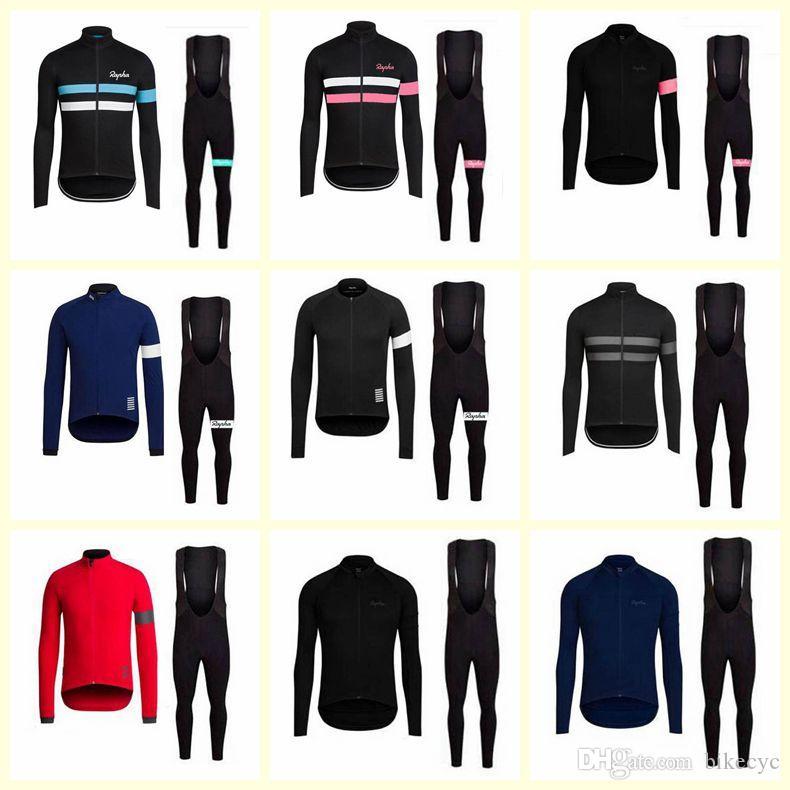 RAPHA équipe salopettes en jersey cyclisme manches longues hommes ensembles de vêtements vélo respirant Quick Dry usine de U40342 vente directe