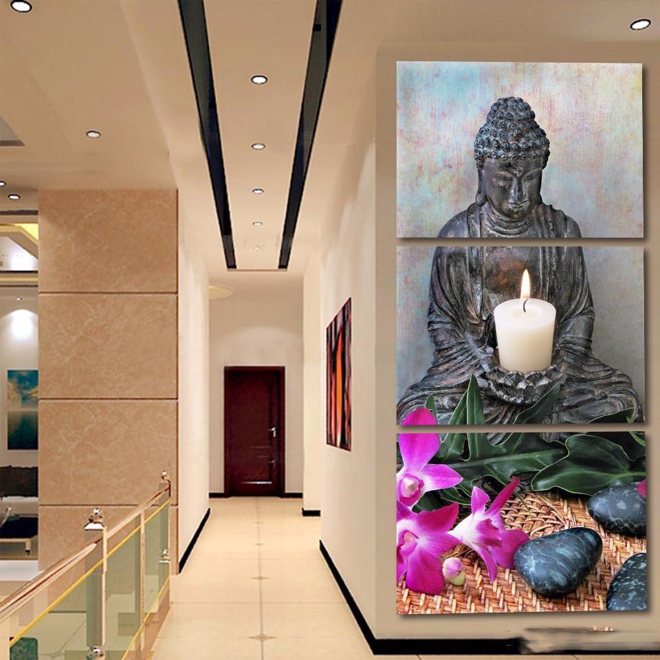 3 Stücke Kerze Buddha HD Gedruckt Leinwand Malerei Wandbilder Für Wohnzimmer Wandkunst Kein Rahmen