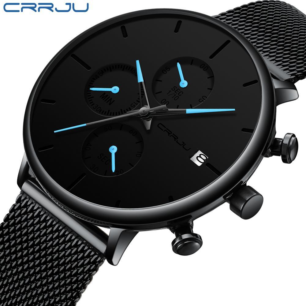 CRRJU Moda Data Mens Relógios Top Marca de luxo impermeável Sport Watch Men Slim Dial relógio de quartzo Casual Relogio Masculino