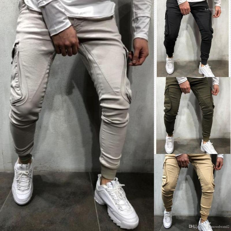 Pantalones deportivos pantalones de color sólido botón de la moda Estilo Hombre Ropa Casual Ropa del diseñador de la cremallera para hombre del verano
