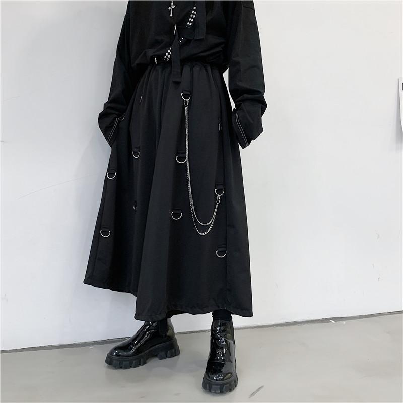 Japan-Art-Weinlese-Mann-beiläufige Hosen Schwarz Aufmaß Metallschnalle Kette Overalls Ro Dunkel High Street gerade Hose Street