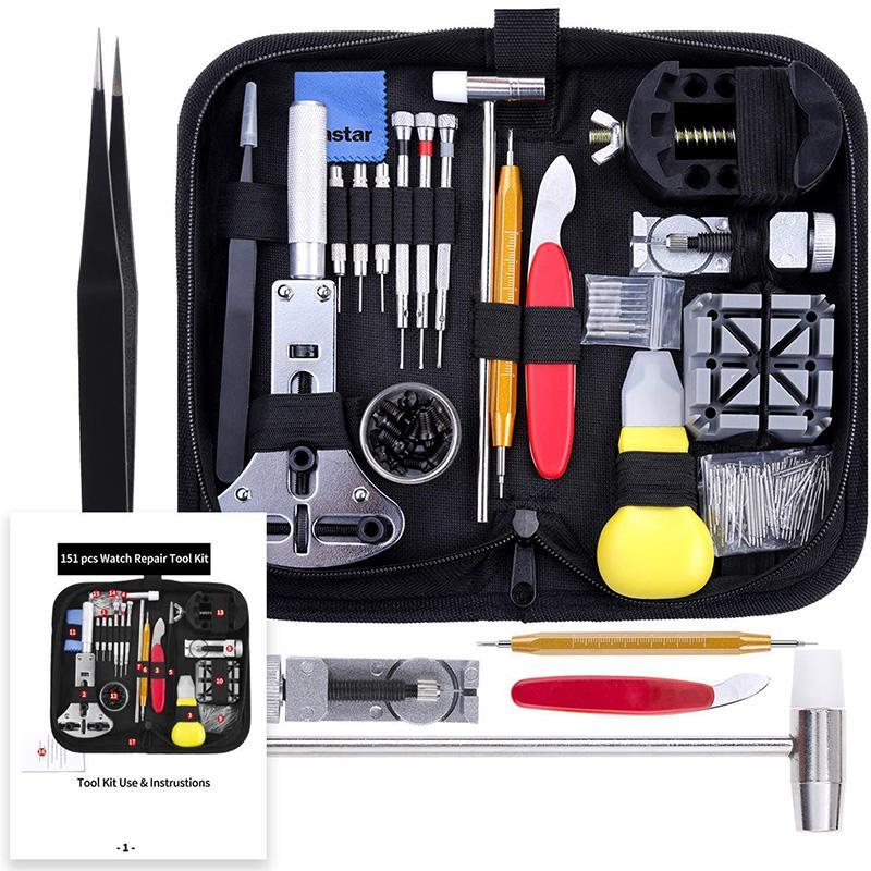 151 piezas de la reparación del reloj caja del kit de herramientas abridor Enlace primavera removedor de la barra de herramientas portátil LKS99