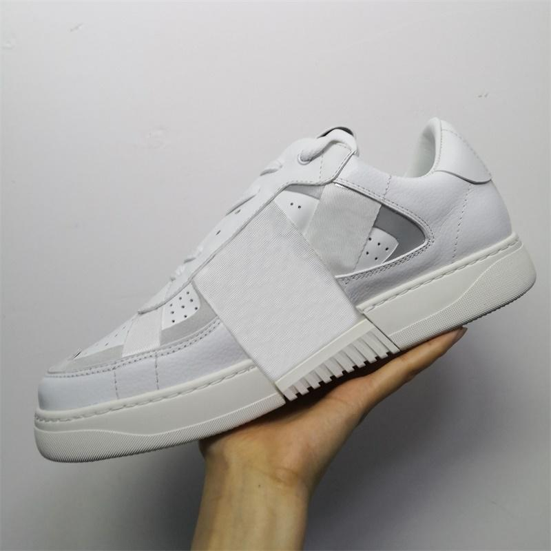 White Reflective Men Shoes Platform Sneakers Women Leather Trainers Flat Casual Shoes Party Wedding Shoes Mesh Sports Sneakers With Box