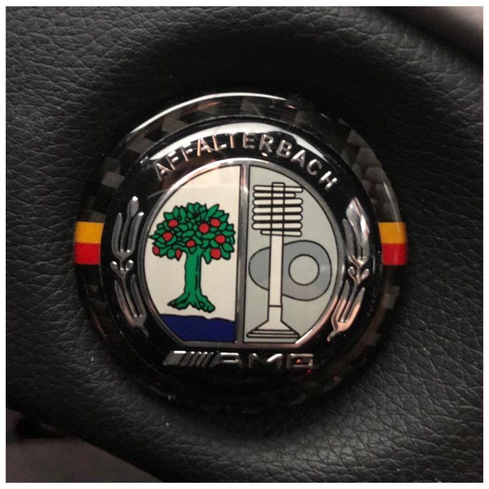 Carbon Fiber Car Engine Start Stop Ignition Key Ring Sticker for Mercedes C Class W205//w213//GLC